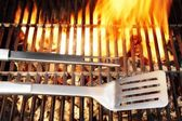 BBQ Tool Fire Flames Grill Spatula Fork, XXXL — Stock Photo