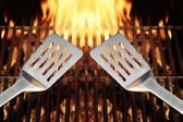 BBQ Tool Fire Flames Grill Spatula, XXXL — Stock Photo
