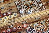 Backgammon game with two dice, with space for text or image. — Stock Photo