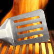BBQ Tool and Flaming Grill, XXXL — Stock Photo