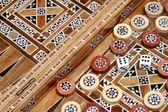 Backgammon Board and and two dice — Stock Photo