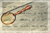 Retro Magnifying Glass and unrecognizable text, XXXL — Stock Photo