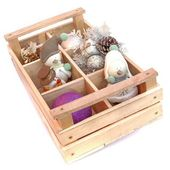 Many snowmans in wooden box — Stock Photo