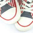 Pair of shoes with american stars and stripes decoration — Stock Photo