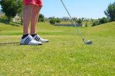 Гольф мяч гольф обувь и пряника — Стоковое фото