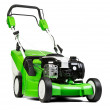 Green lawnmower isolated on white background. — Stok fotoğraf