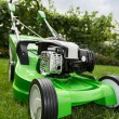 Green lawnmower on green lawn. — Stock Photo #31295217