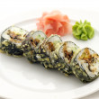 Tempura Maki Sushi - Roll made of Fresh Raw Salmon, Smoked  — Stock Photo