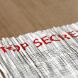 Shredded reassembled Top secret paper concept — Stock Photo