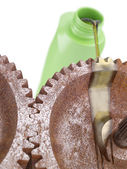Oiling Rusty Gears — Stock Photo