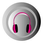 Pink headphones — Stock Vector