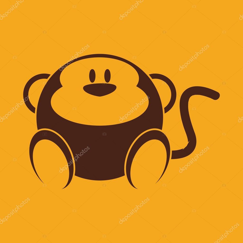 在黄色背景上的抽象可爱的猴子