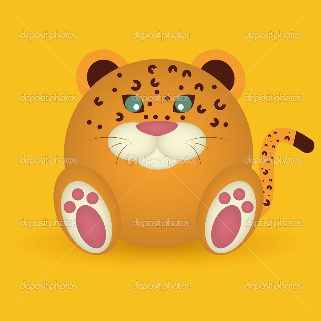 在黄色背景上的抽象可爱老虎— vector by davids47