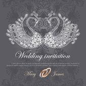 Convite de casamento decorado com cisne branco do laço — Vetor de Stock