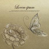 Bloem en vlinder uit vintage-stijl botanische tekening — Stockvector