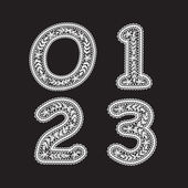 The numbers 0,1,2 and 3 are written with white lace. Lace font for the labels — Stock Vector