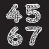 The numbers 4, 5. 6 and 7 are written with white lace. Lace font for the labels — Stock Vector