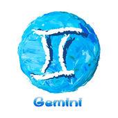 Zodiaco gemini: simbolo su sfondo multicolore, dipinto con colori ad olio. — Vettoriale Stock