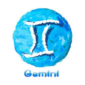 Zvěrokruh symbol gemini na vícebarevné pozadí, malované olejovými barvami. — Stock vektor