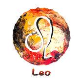 Zodiac symbol leo på en flerfärgad bakgrund, målade med oljefärger. — Stockvektor
