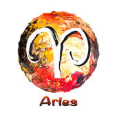 Zodiac symbol Aries on a multicolored background, painted with oil paints. — Stock Vector