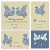 Wedding invitation decorated with white lace dove — Stock vektor