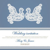 Wedding invitation decorated with white lace dove — Stok Vektör