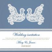 婚礼请柬装饰着白色花边鸽子 — 图库矢量图片