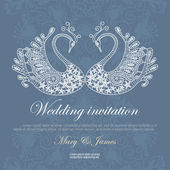 Wedding invitation decorated with white lace swans — Stock Vector