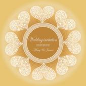 Davet düğün beyaz dantel kalpleri ile dekore edilmiştir — Stok Vektör