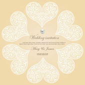 Wedding invitation decorated with white lace hearts — Cтоковый вектор
