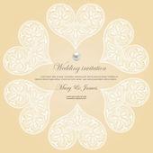 Zaproszenie ślubne ozdobione białe koronkowe serca — Wektor stockowy