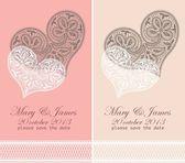 приглашение на свадьбу оформлены в белых кружевах сердца — Cтоковый вектор