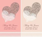 Svatební pozvánky zdobí bílé krajkové srdce — Stock vektor