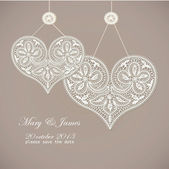 Wedding invitation decorated with white lace hearts — Stock Vector
