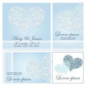 Invitation de mariage décorée de coeurs de dentelle blanche — Vecteur