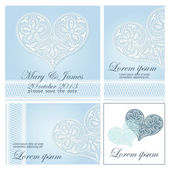 Wedding invitation decorated with white lace hearts — Vector de stock