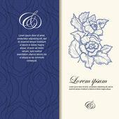 Mavi renkli çiçeklerle dekore düğün davetiyesi. — Stok Vektör