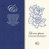 Wedding invitation decorated with flowers in blue color. — Stock vektor