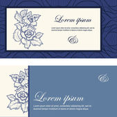 свадебные приглашения, украшенная цветами в синий цвет. — Cтоковый вектор