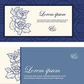 Invito a nozze decorato con fiori in colore blu. — Vettoriale Stock