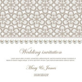 Wedding invitation decorated with a pattern of lace and pearls — Stock Vector