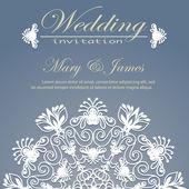 Bröllop inbjudan dekorerad med blommönster — Stockvektor
