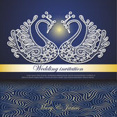 Wedding invitation decorated with white lace swans and abstract waves in night colors — Stockvector