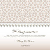 Wedding invitation decorated with white lace and pearls — Stock Vector
