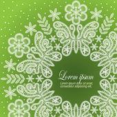 Sfondo decorato con motivo con fiori e farfalle di pizzo bianco — Vettoriale Stock