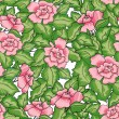Seamless pattern of roses with green leaves and pink flowers — Stock Vector