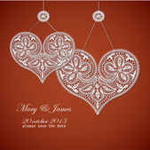 Invitation de mariage décorée d'un coeur de dentelle blanche — Vecteur