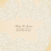 Wedding invitation. Lacy white heart on a gold background. — Stock Vector