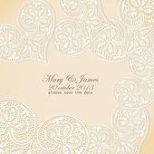 結婚式の招待状。金背景にレーシー ホワイト ハート. — ストックベクタ